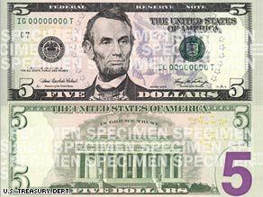 U S 5 Dollar Bill