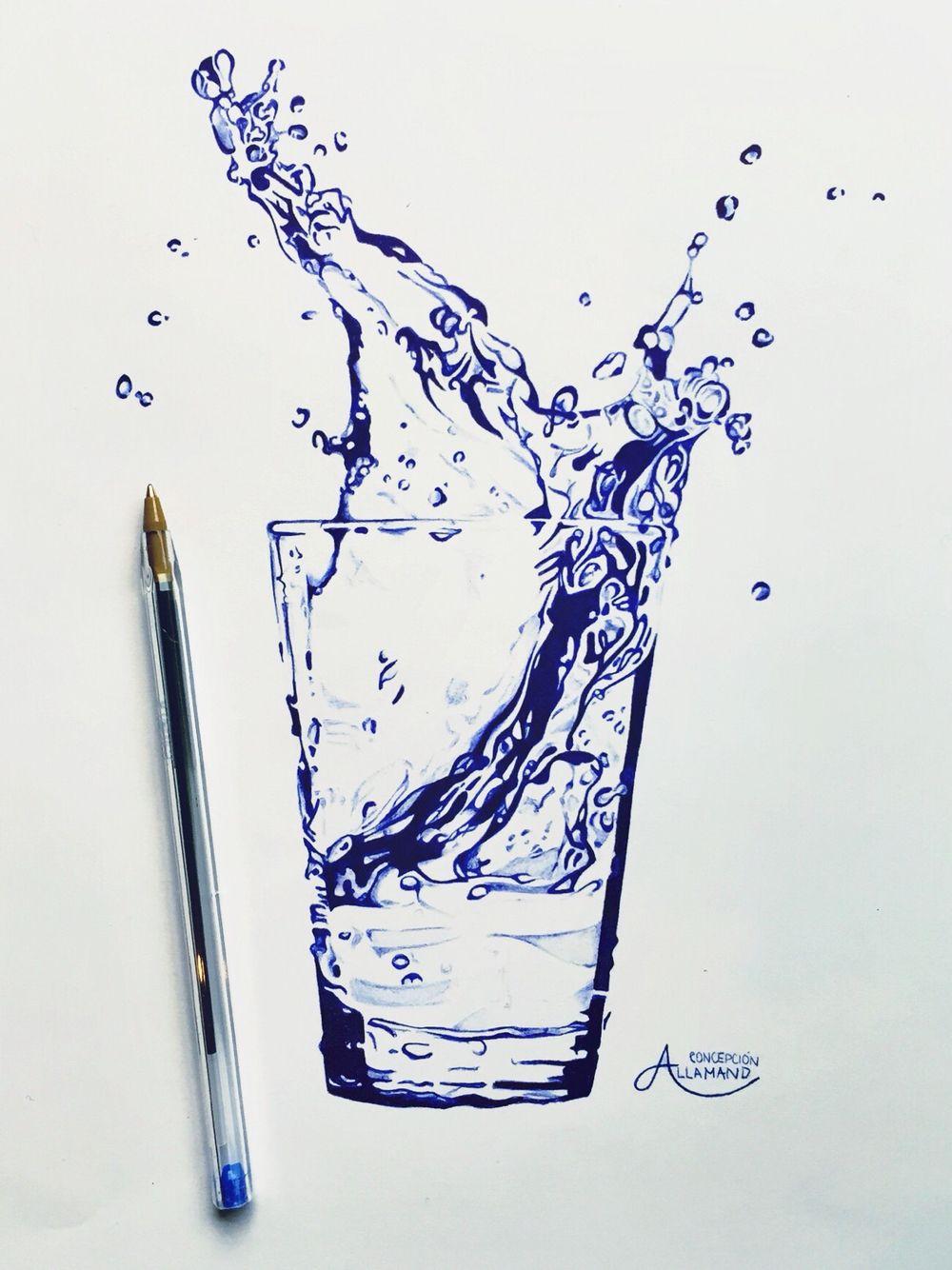 Bic pencil drawing, glass of water Concepción Allamand #glass #water #art #drawing #bic #pen #concepción #allamand