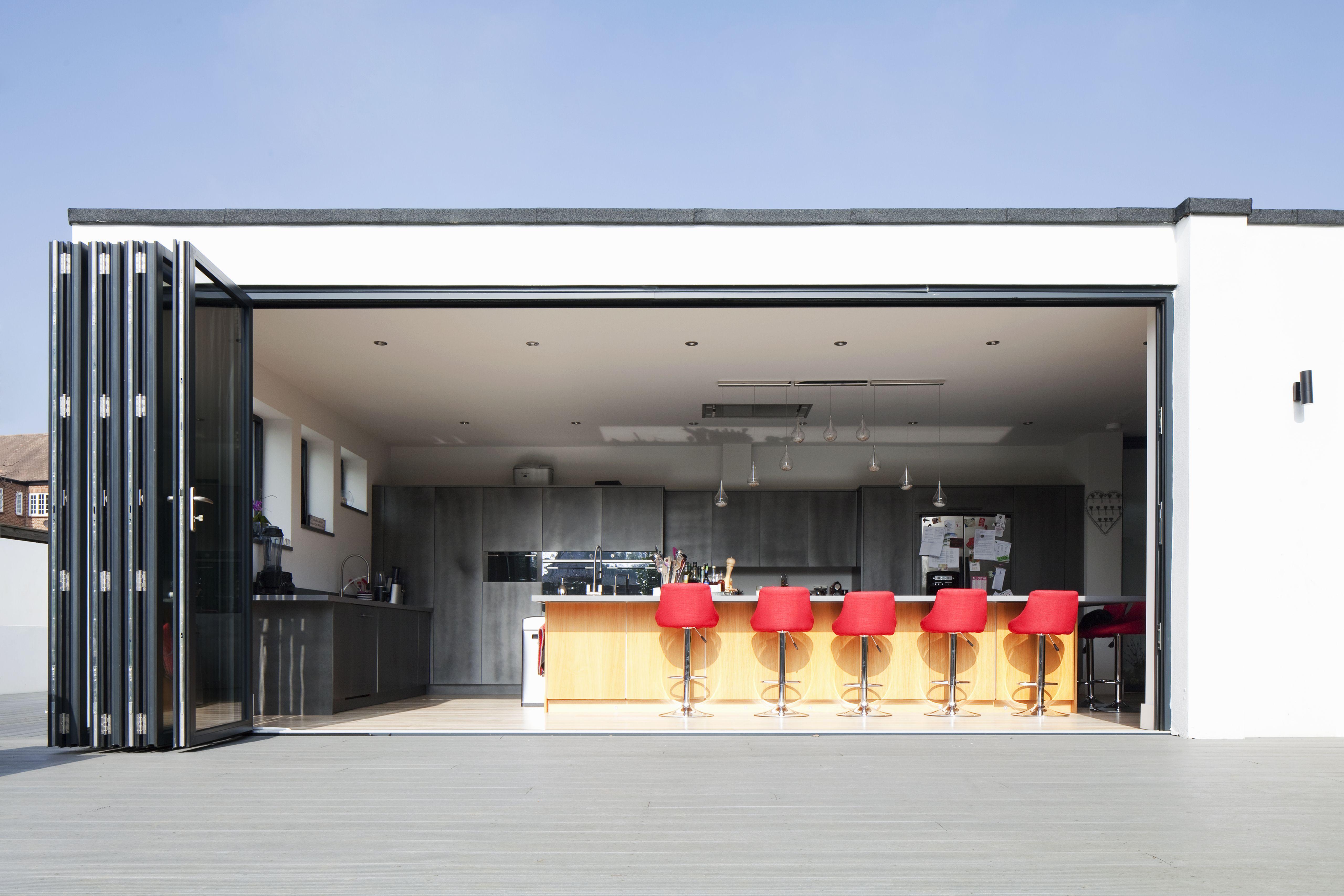 Rear Extension Flat Roof Contemporary Modern Bi Fold Doors