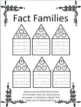 Fact Families Missing Addend Open Ended Worksheets Fact Families Missing Addend Teaching Math