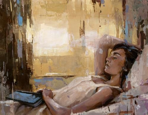 """Daily Paintworks - """"Reading a Book-7"""" - Original Fine Art for Sale - © Victor Bauer"""