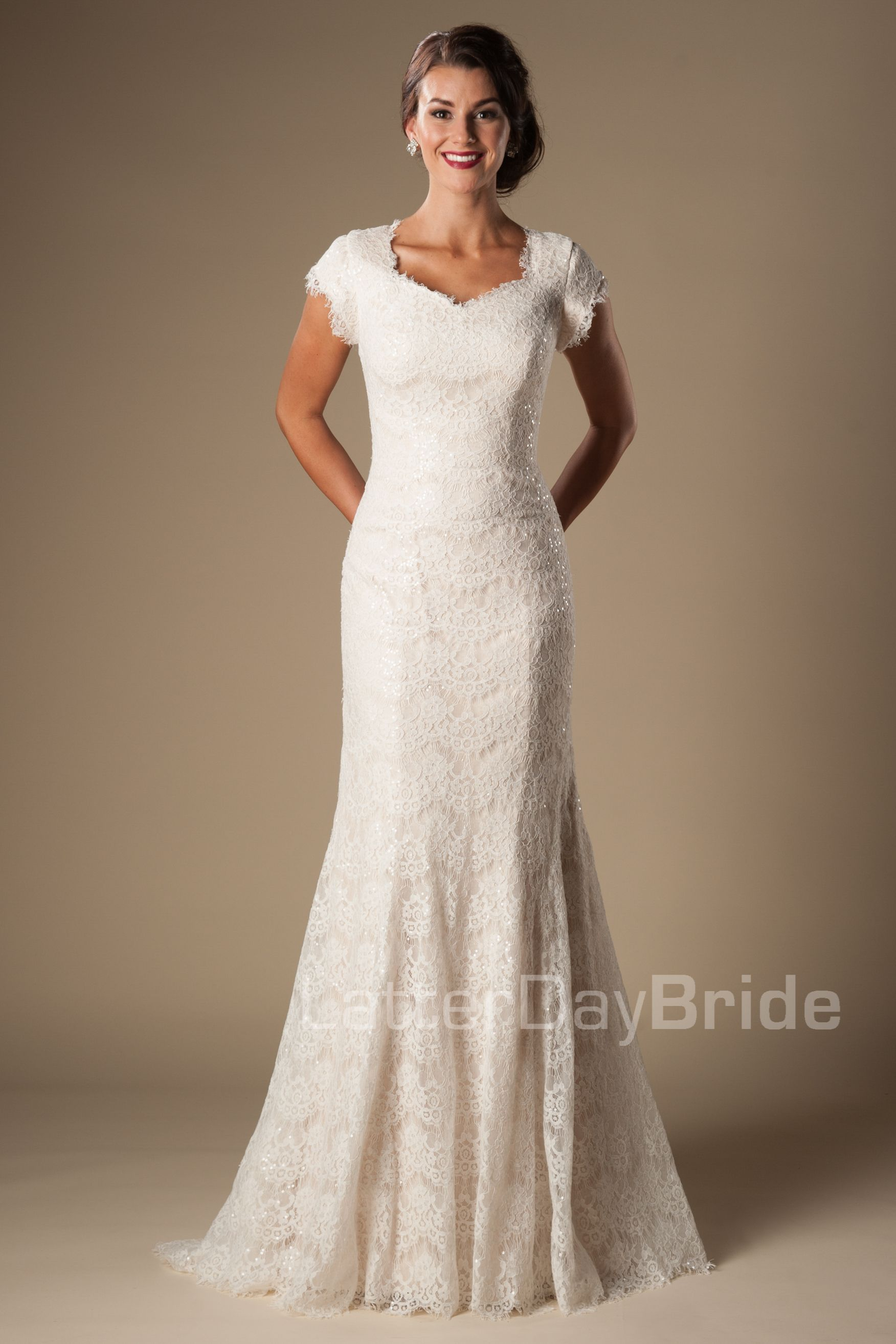 7efe1f1635ba Fit & Flare (Wedding) : Manchester Lacey Wedding Dress, Modest Wedding  Gowns