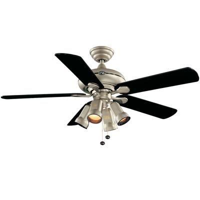 Hampton Bay - Redington Brushed Steel Ceiling Fan - 52 ...
