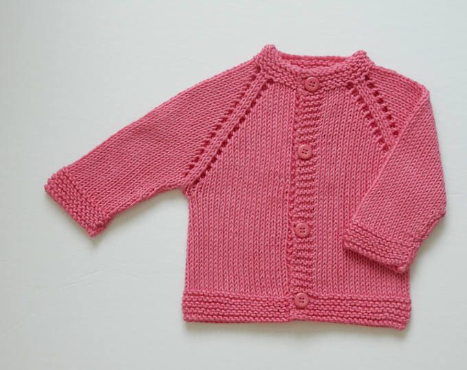 De la mano de punto bebé suéter / 0 - 3 meses / suéter de bebé rosa ...