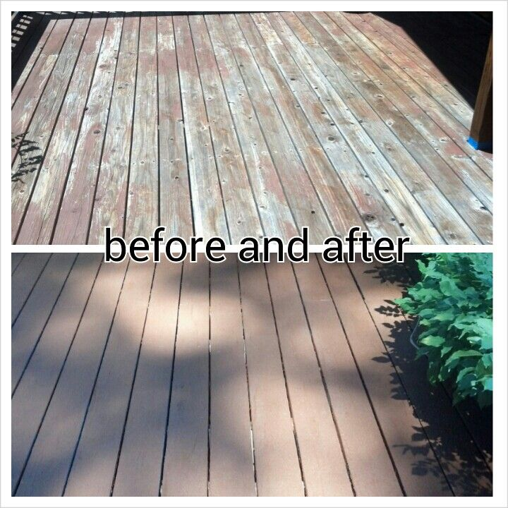 My Deck Before And After Using Rustoleum Restore In Chocolate