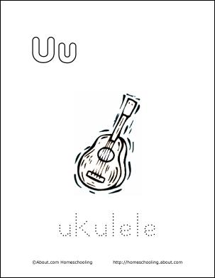 My U Book Ukulele Coloring Page