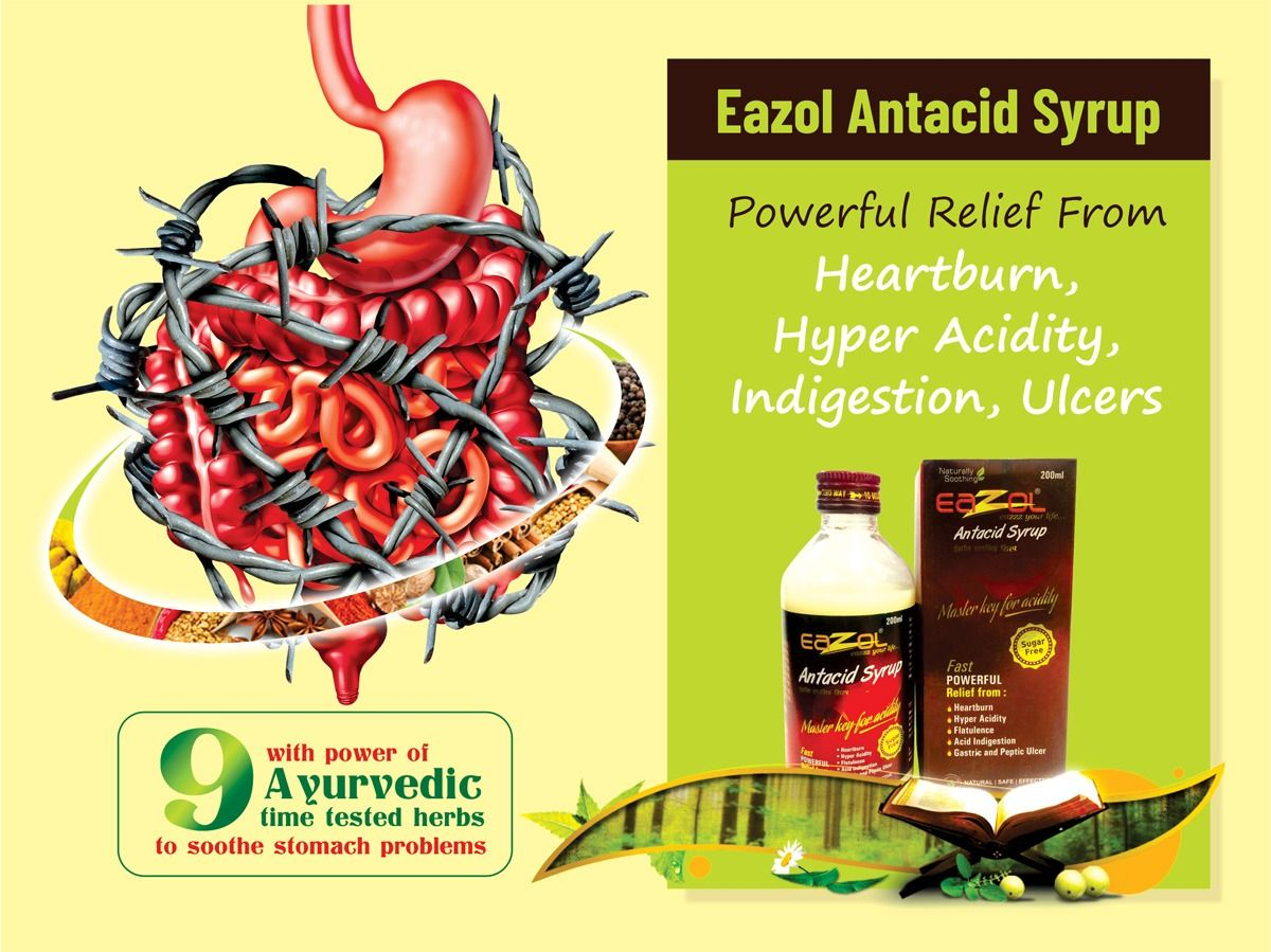 Eazol Antacid Syrup With Power Of Ayurvedic 9 Time Tested Herbs