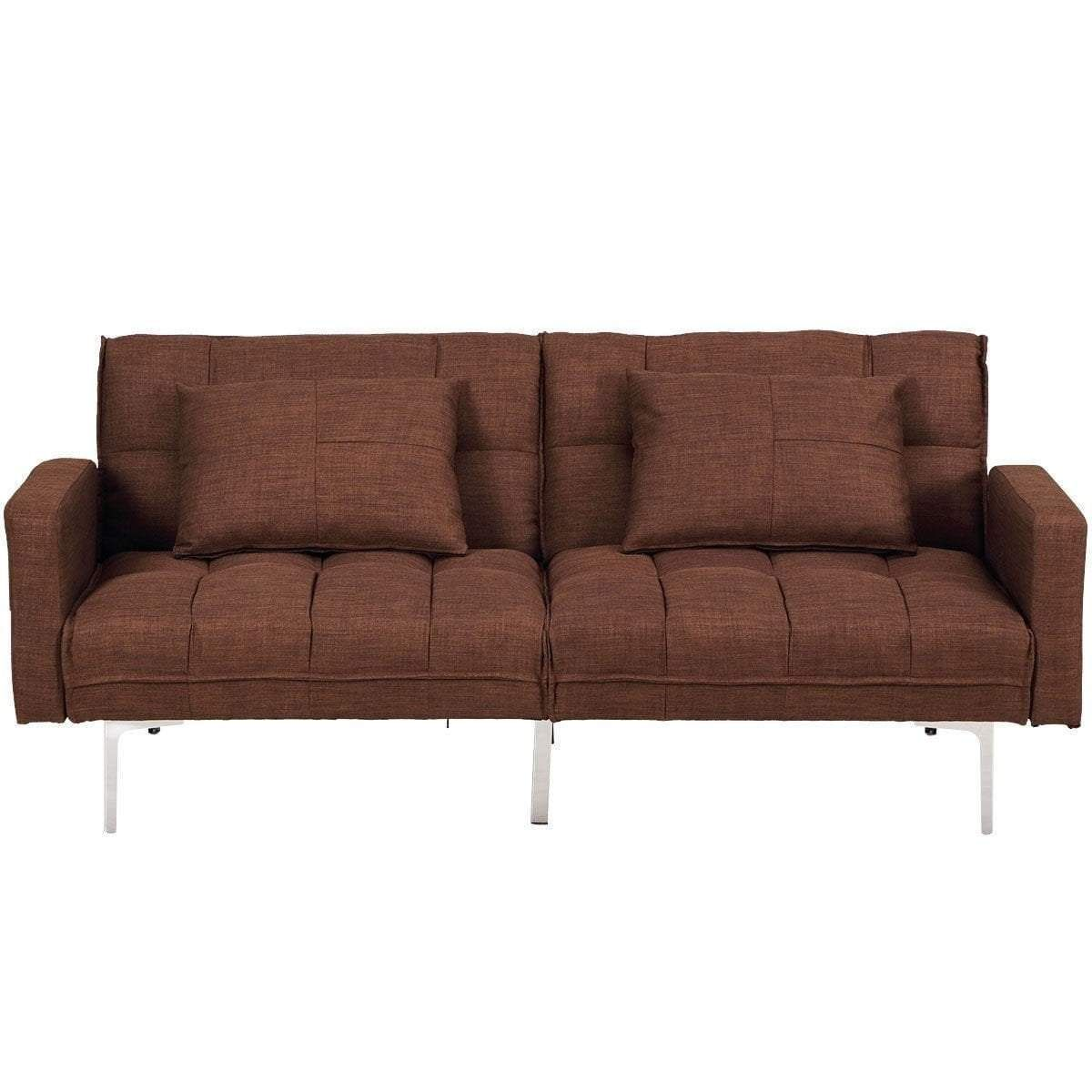 Convertible Sleeper Sofa Bed With Adjule Armrests Backrests Brown
