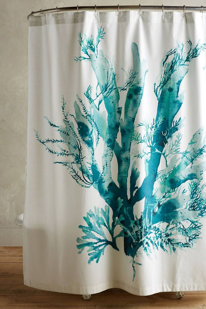 Anthropologie Gingko Shower Curtain 100 Cotton White Green