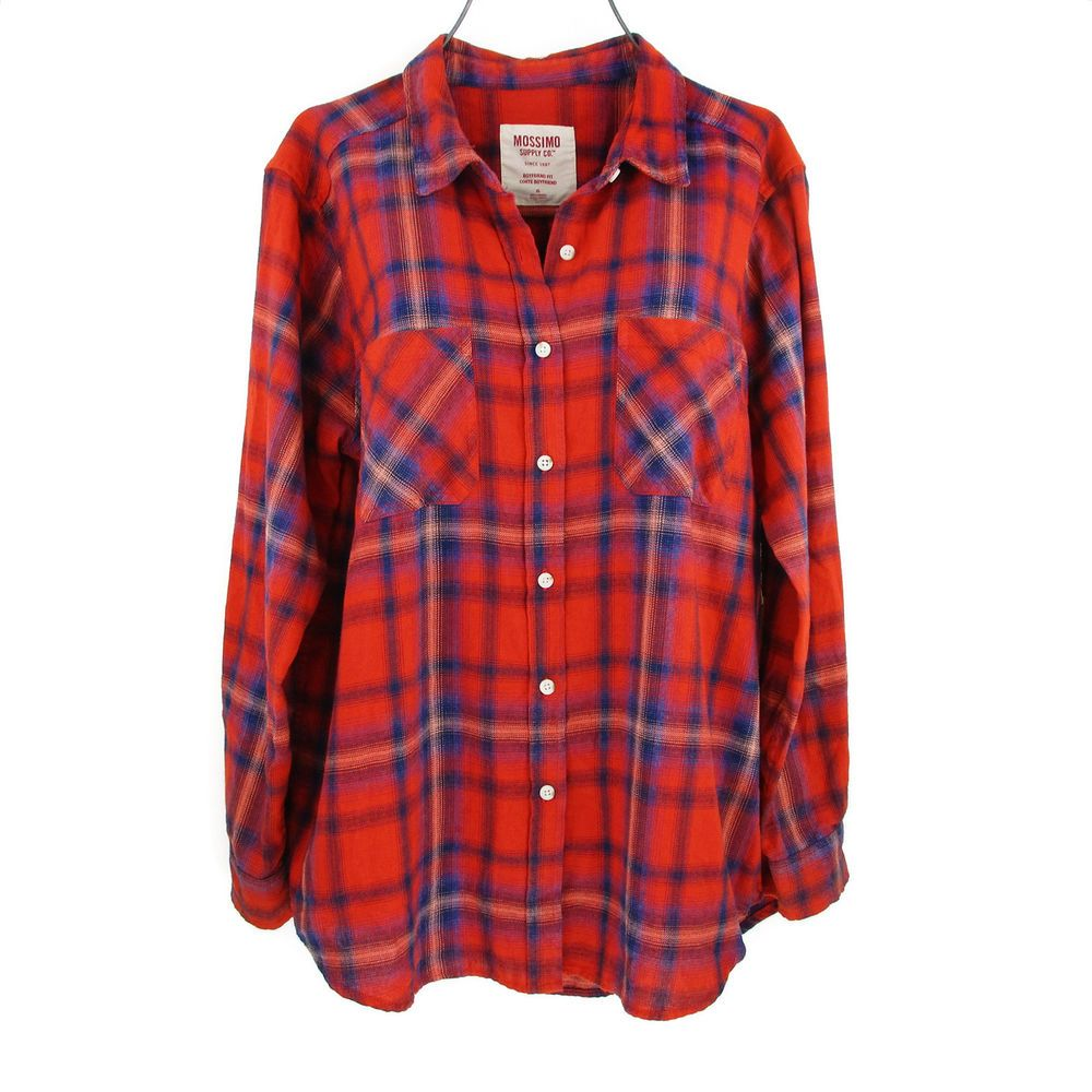 Pictures Of Womens Neckline Haircuts Womens Xl Flannel Shirt Plus Size Red Plaid Long Sleeve