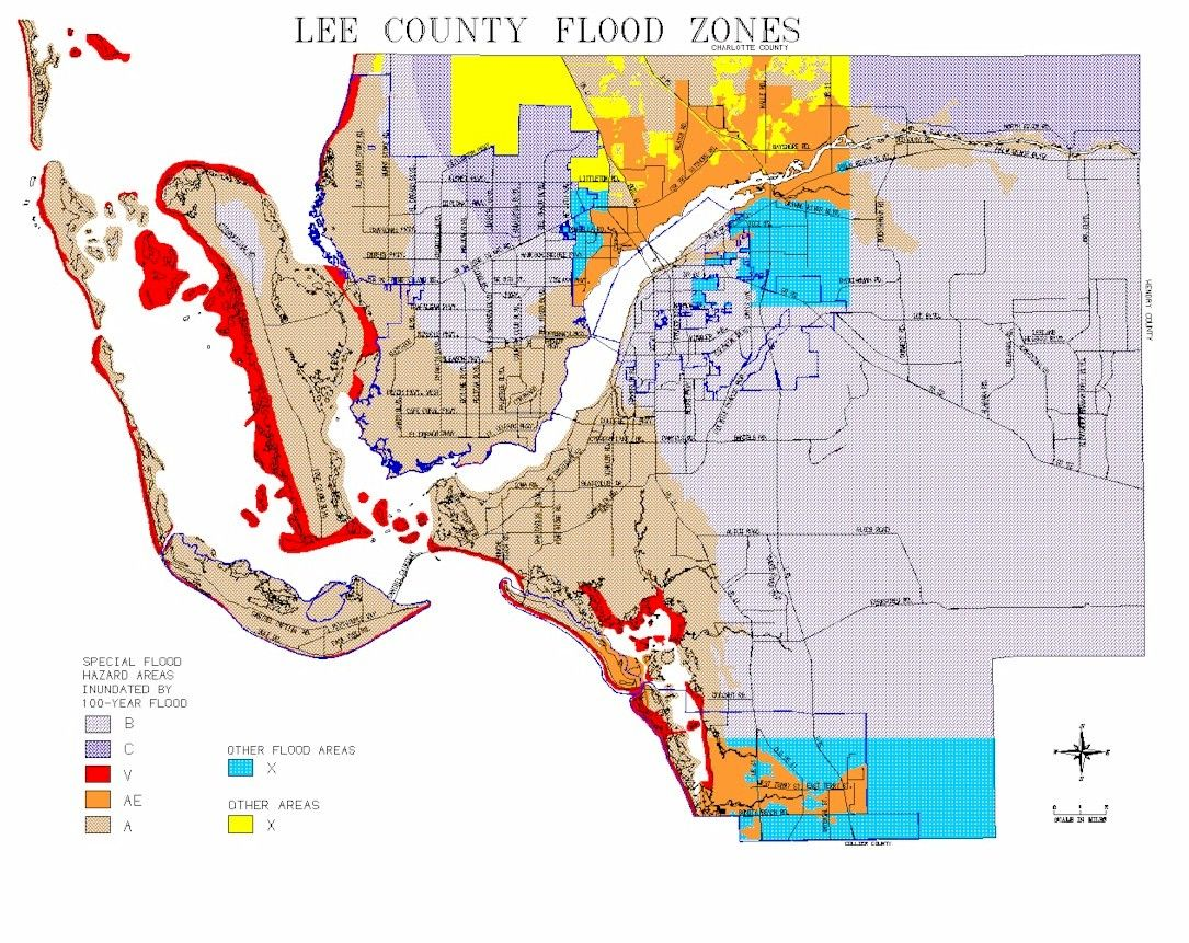 Map Of Lee County Flood Zones Flood Zone Flood Map