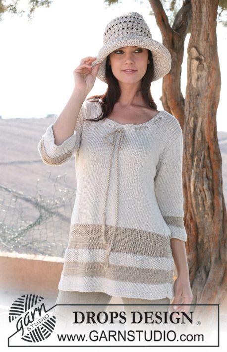 Chapéu DROPS em croché em Cotton Viscose e Bomull-Lin - Tamanhos S/M-M/L ~ DROPS Design