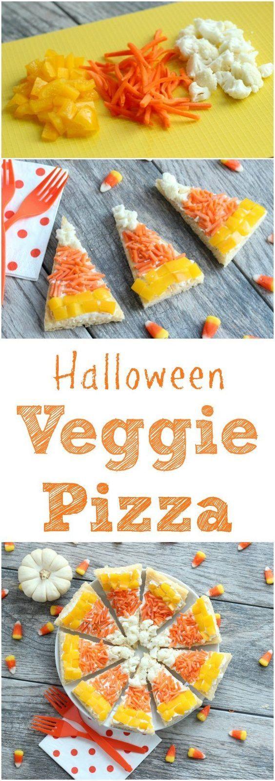 Halloween Veggie Pizza! Looks like candy corn perfect