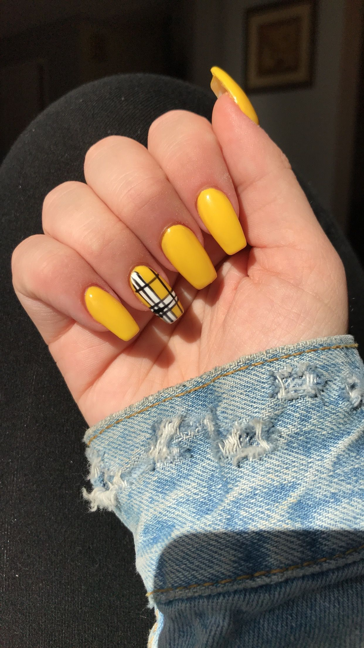 Yellow Plaid Coffin Shaped Acrylic Nails Yellow Nails Short Acrylic Nails Cute Acrylic Nails
