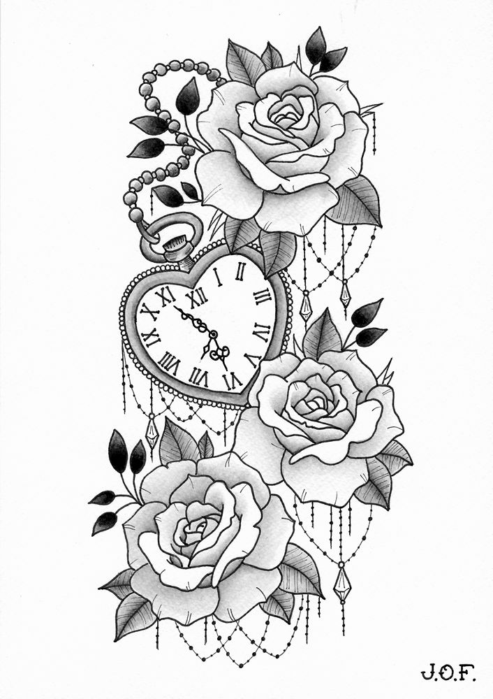 Rose Clock Tattoo Designs Drawing: Roses With Heart-shaped Clock - 12/2017