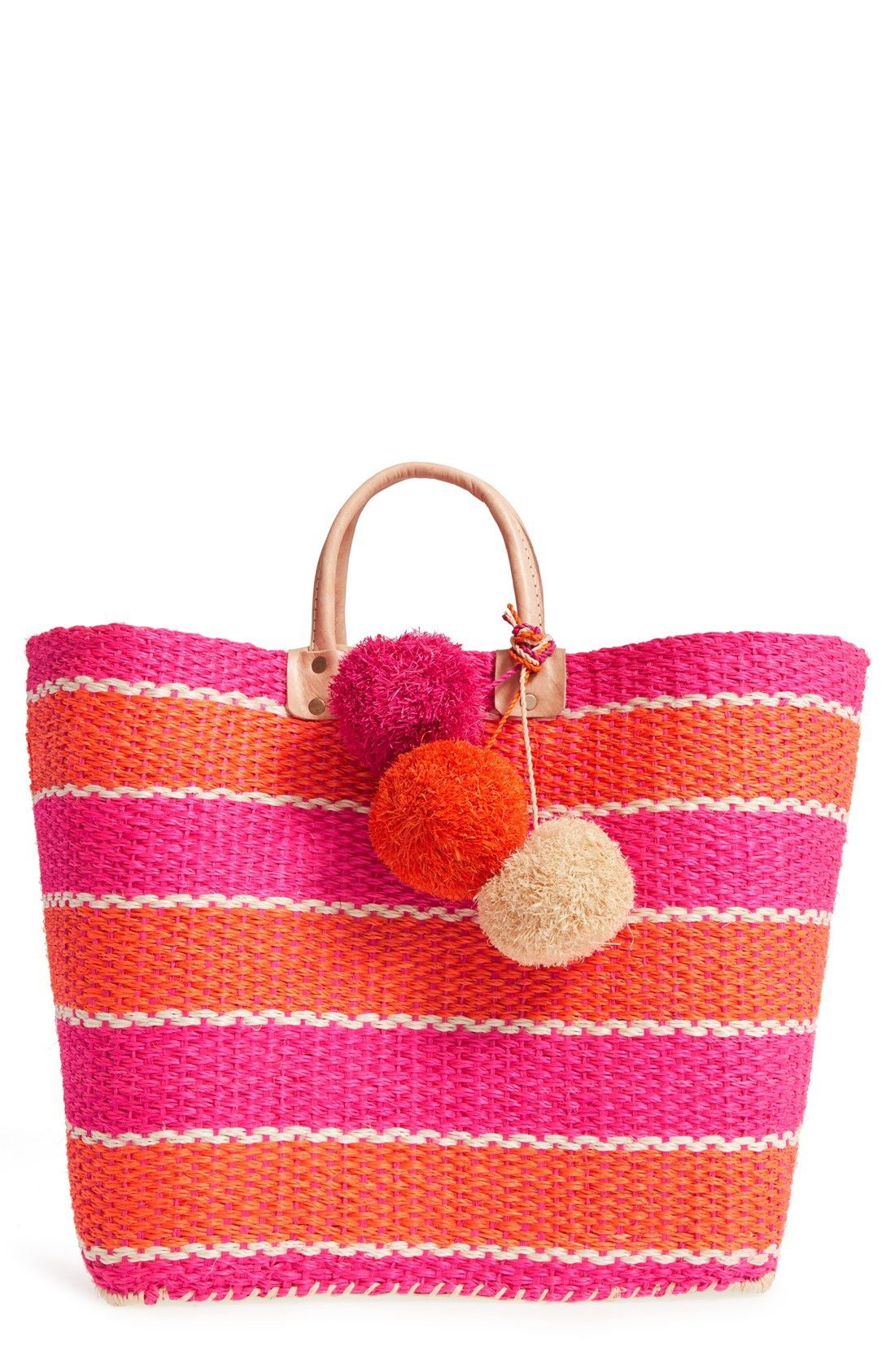 Capri  Woven Tote with Pom Charms.   64bae76562818
