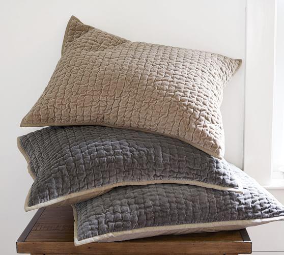 Velvet Linen Pick Stitch Quilt Amp Shams Bed Pillows Pick