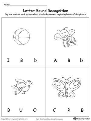 Recognize The Sound Of The Letter B Alphabet Worksheets Preschool Letter Sounds Letter B Worksheets Letter sound recognition worksheets