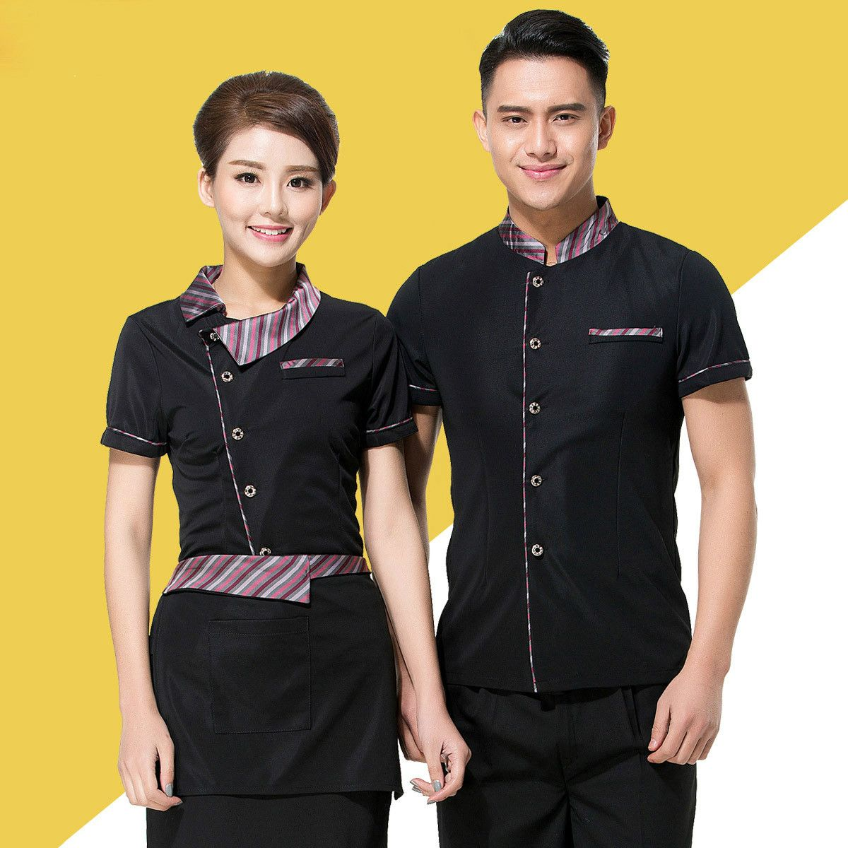 Home Full Sets Restaurant Waiter Uniform Hat+shirt+apron Coffee Shop Waitress Uniform Men Cook Clothing Hotel Bakery Work Wear