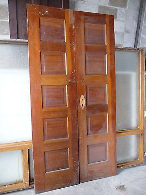 Antique Double 5 Panel Interior Door C 1910 Fir Architectural Salvage Doors Interior Architectural Salvage 4 Panel Doors