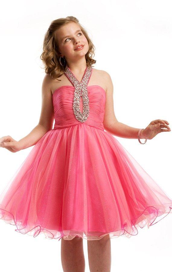 Dark Pink Mini Length A Line Halter Flower Girl Dresses With Sequins ...