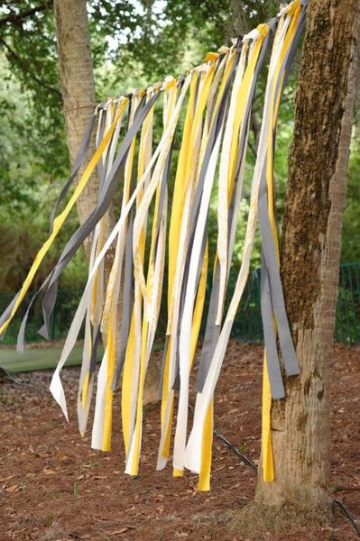 easy smeazy. Could hang ribbon streamers in your colors in doorway of the outdoor indoor patio.