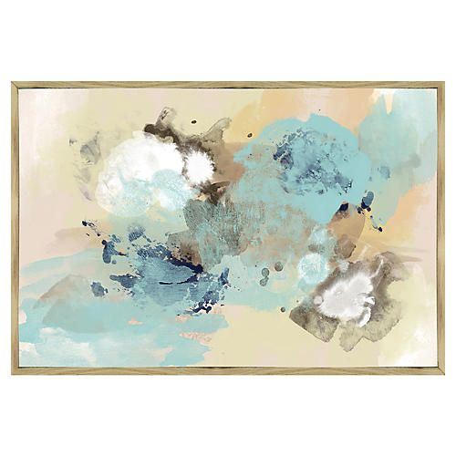 Canvas Print Heaven Blue Sky Nature Dandelion Faded: Blue Sky Abstract Inverse-Framed Giclée