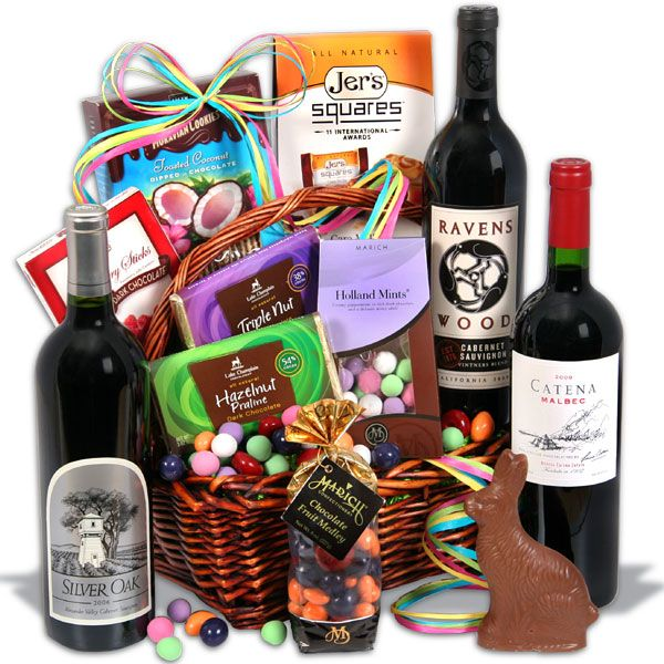 Red wine dark chocolate easter basket gifts pinterest our easter baskets are filled with candies and gourmet goodies the bunny will look like an amateur our easter gift baskets are perfect for kids or adults negle Images