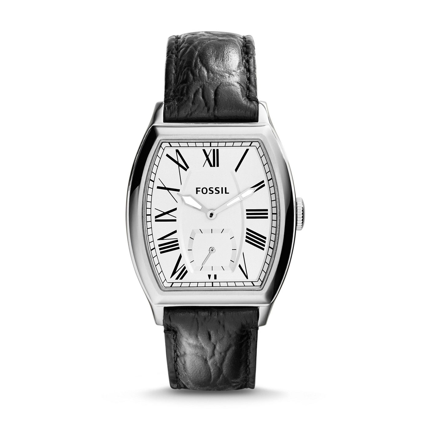 Fossil Narrator Two-Hand Leather Watch - Black Croco| FOSSIL® Watches