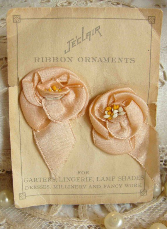 Circa 1920s Never Used Peachy Pink Silk Ribbonwork Rosette Lingerie Adornments