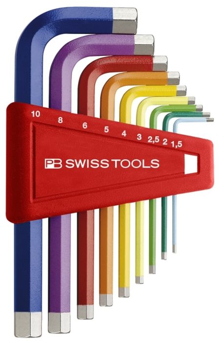Color coordinated hex keys. Great idea for differentiating those small sizes.