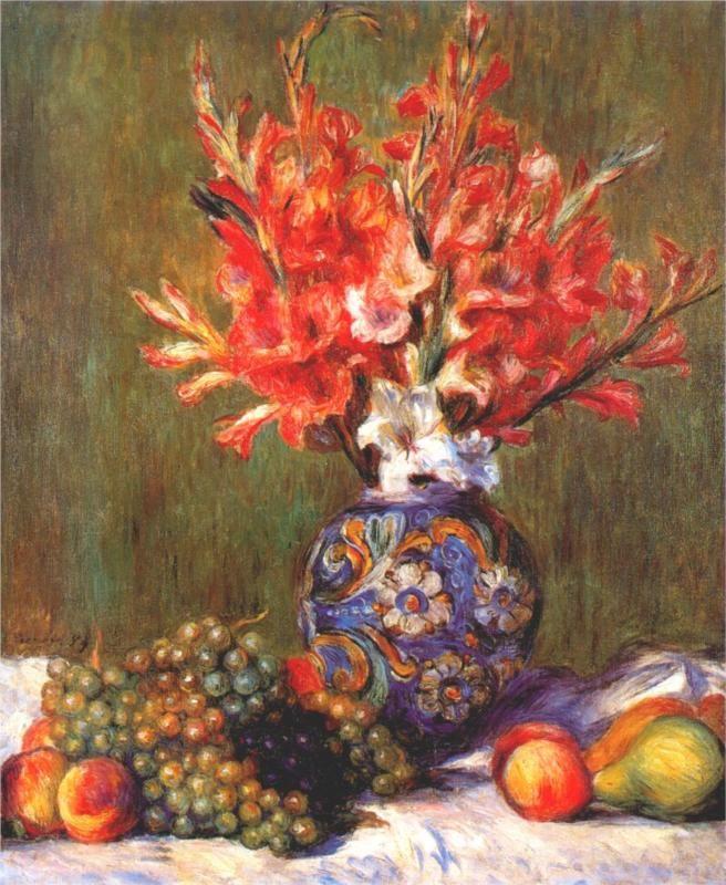 Pierre-Auguste Renoir - Nature morte, fleurs et fruits (Still Life, Flowers and Fruit), 1889. Sotheby's.