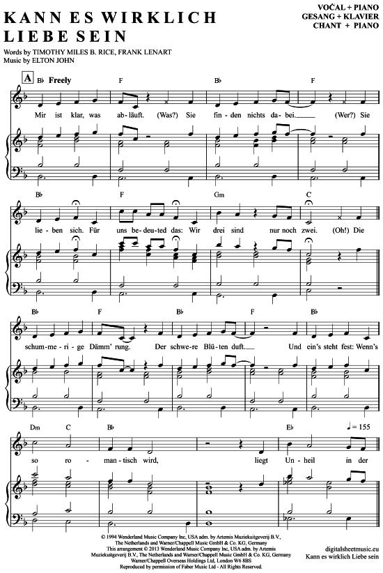 Kann Es Wirklich Liebe Sein Klavier Gesang Aus Der König Der