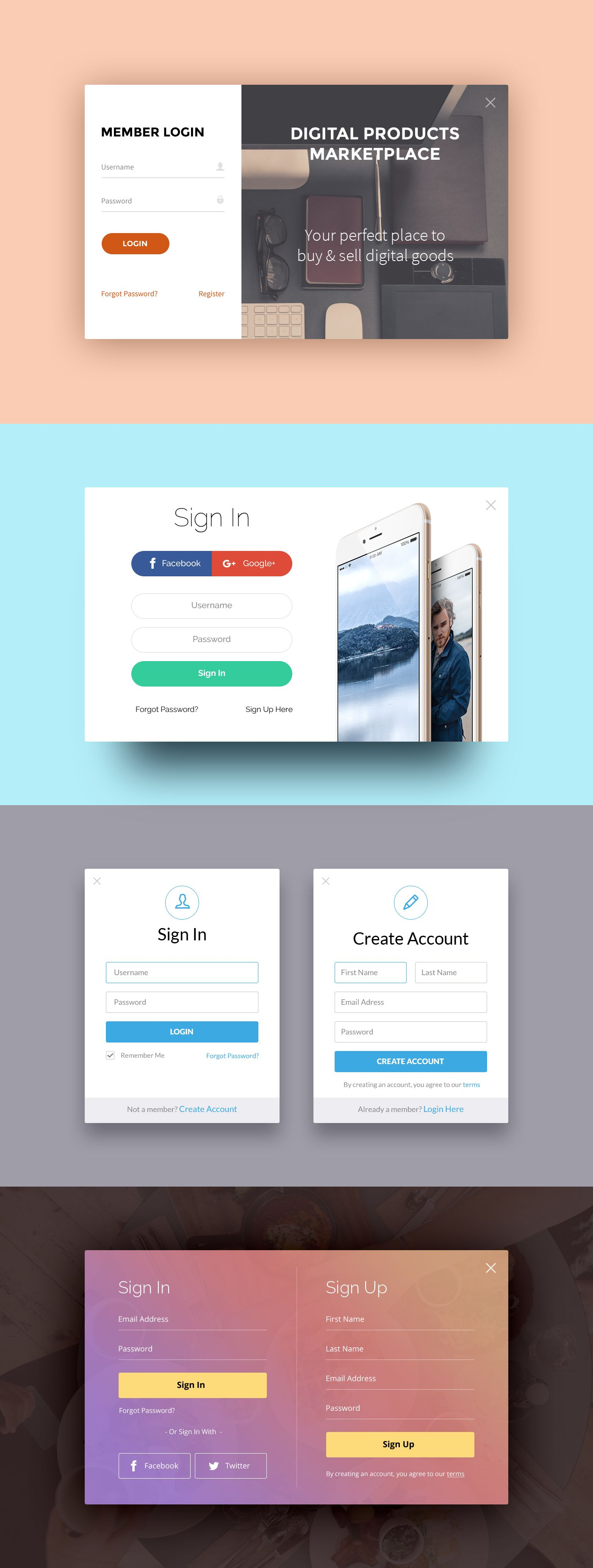 Free Flat Multiple Account Sign Up Member Login Forms PSD