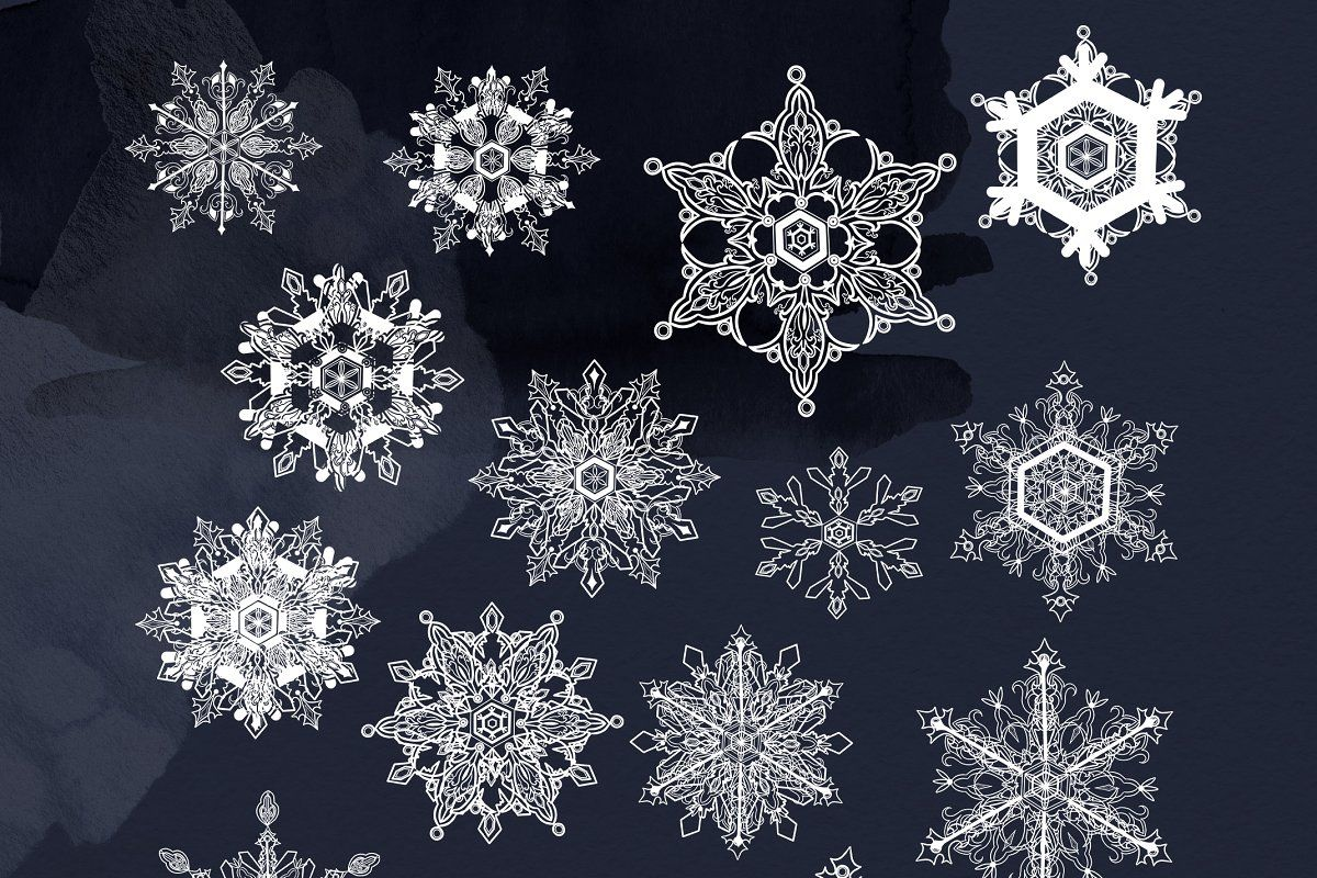 Winter Snowflakes clipart ~ Illustrations ~ Creative ...