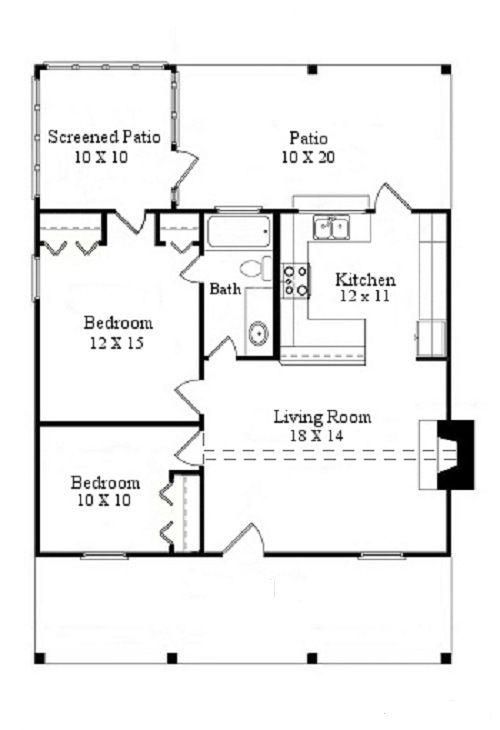 Plano De Pequeña Casa De Campo De 70 M2 Y 2 Dormitorios. Tiny Home Floor  PlansHouse PlansSmall ...