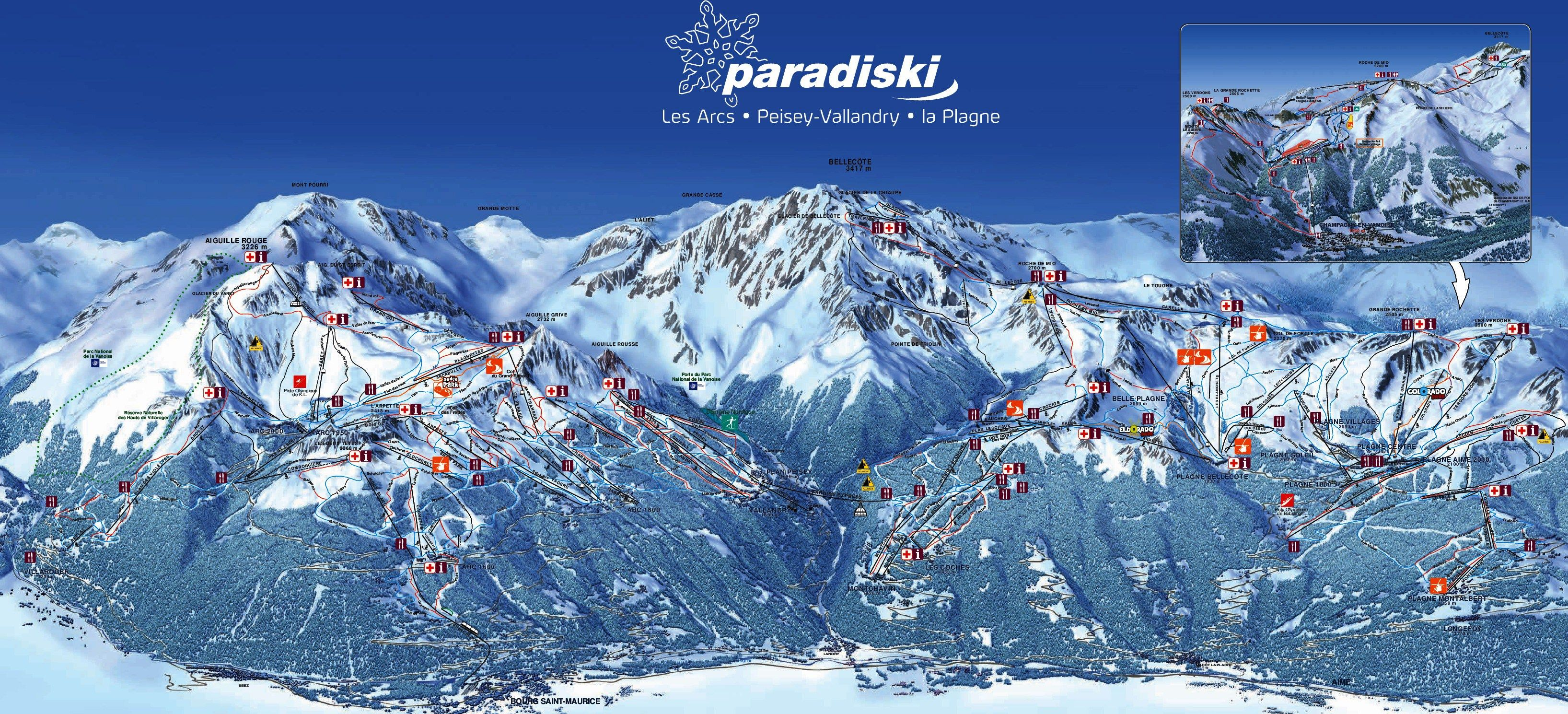Piste Map of Paradiski on the French Alps Les Arcs Paisey