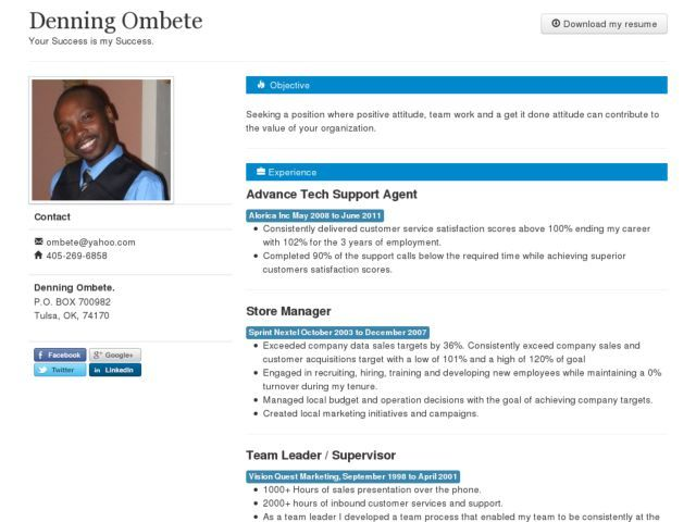 Denningu0027s Resume  DjangoSitesorg - Powered by Django Online - resume in english sample