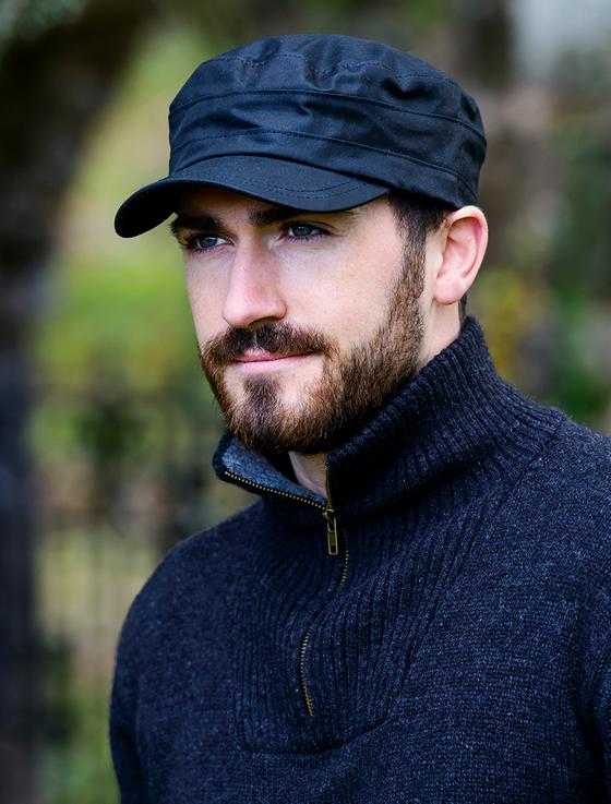 Fisherman Waxed Cap - Black in 2020 | Aran sweater irish ...