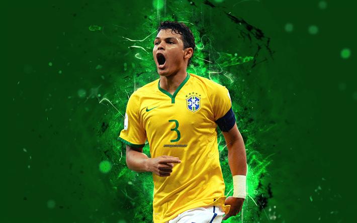 Download Wallpapers 4k Thiago Silva Abstract Art Brazil National Team Fan Art Silva Soccer Footballers Neon Lights Thiago Silva Football Team Football