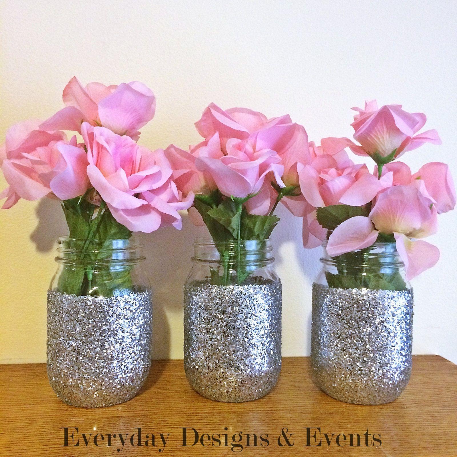 3 silver mason jars, mason jar decor, mason jar centerpiece, baby ...