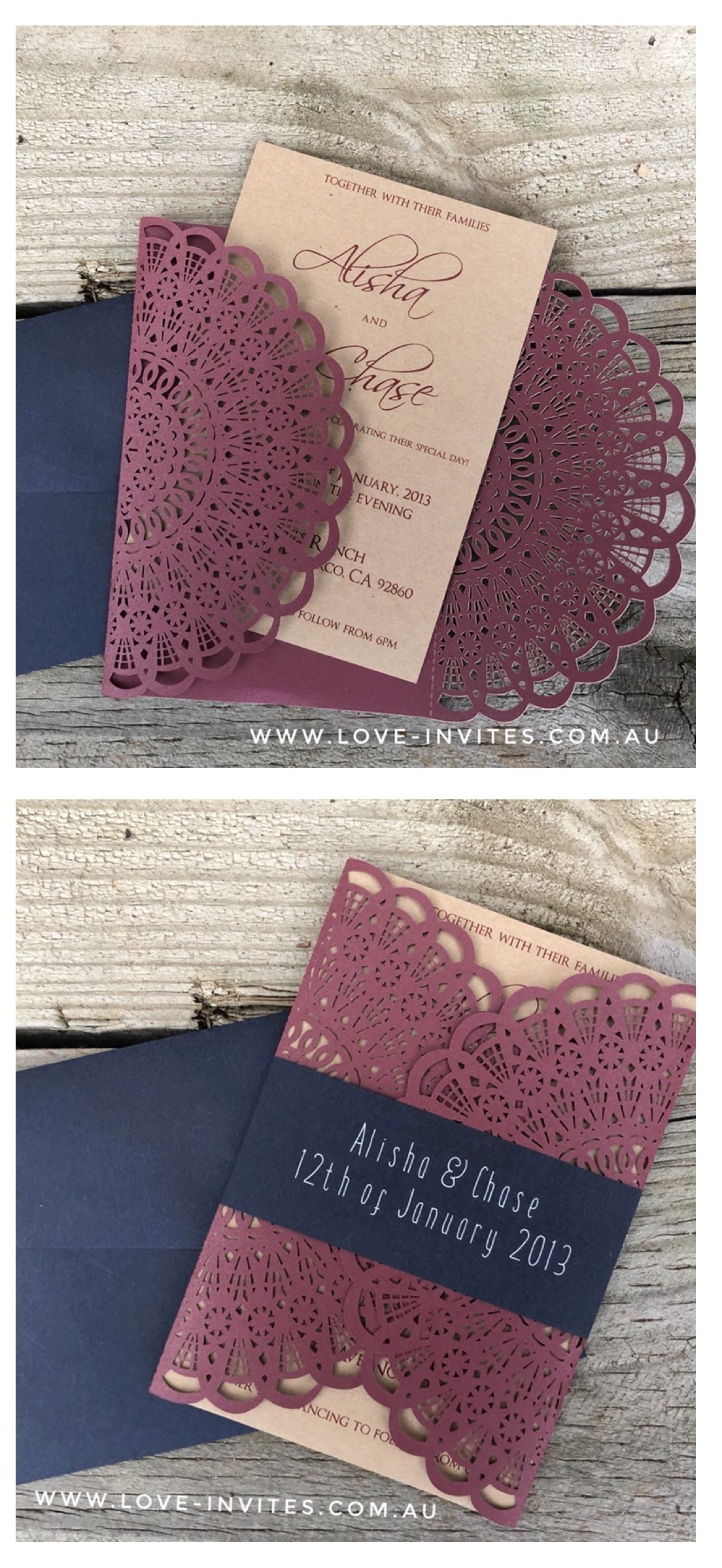 The Kate Burgundy & Navy Wedding Invitation burgundy