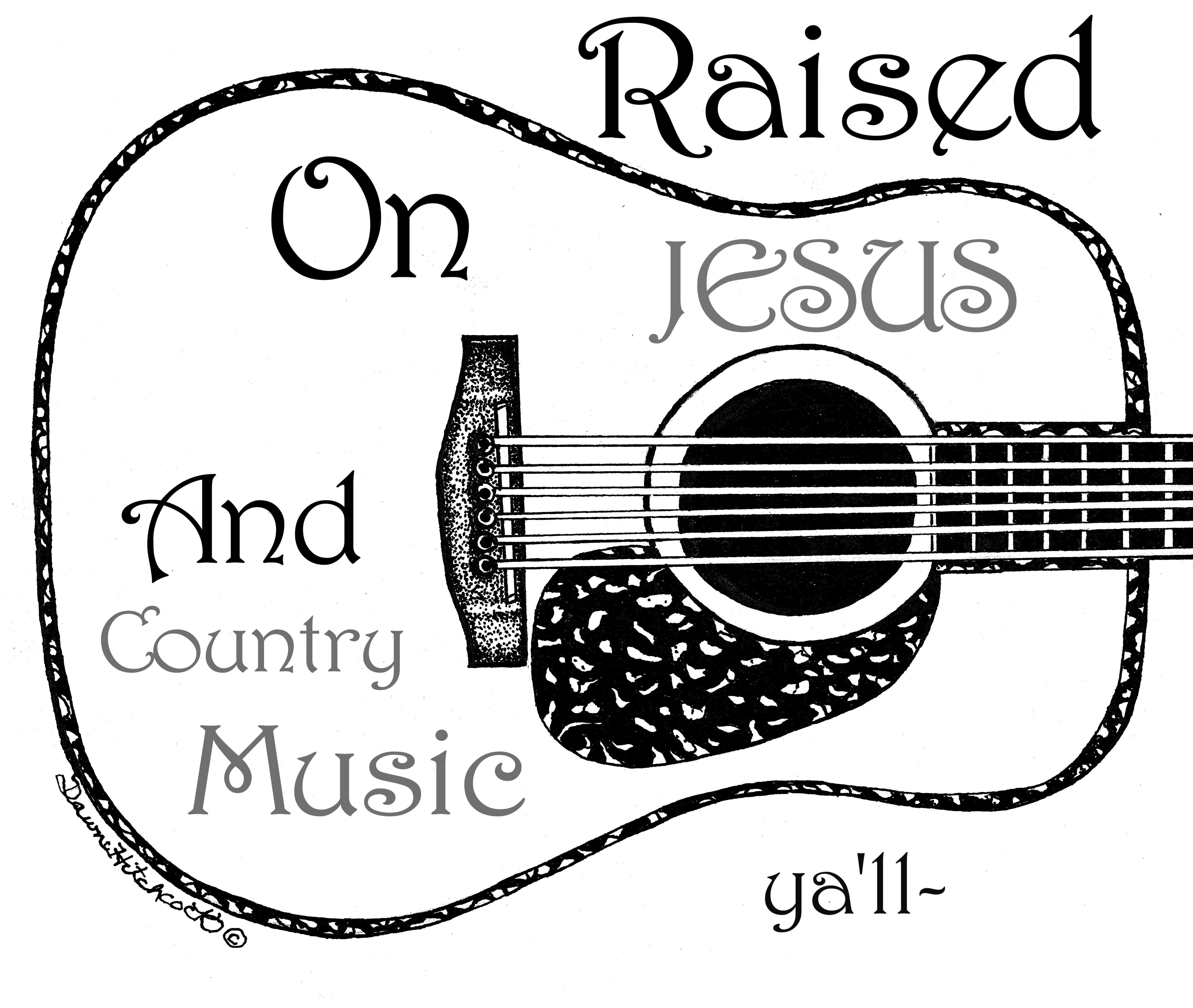 Country Music & Jesus Print, by Artist Dawn Hitchcock