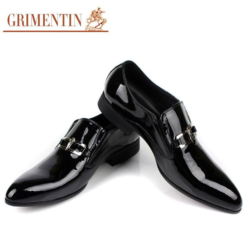 Grimentin Fashion Italian Business Patent Genuine Leather Formal Men Dress Shoes Black Wedding Flats Luxury For Male