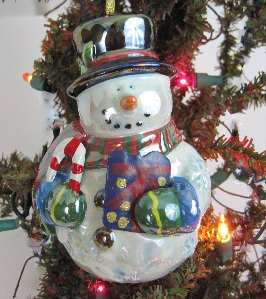 Ceramic Snowman Bell Christmas Ornament Or Figurine Lustrous Opaline