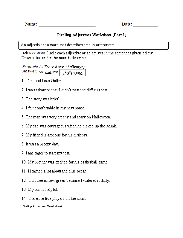circling adjectives worksheet part 1 intermediate