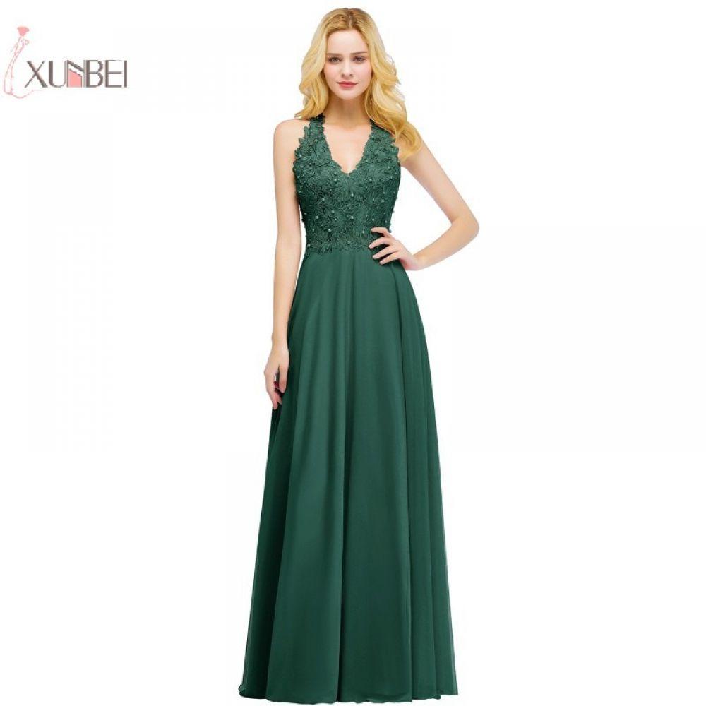 6eb46bb177574 2019 Sexy Elegant Pink Burgundy Green Long Prom Dresses V Neck Pearl ...