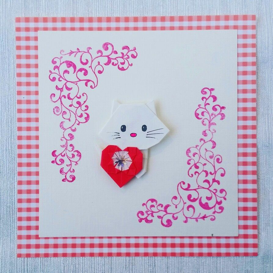 origami kitty valentine's card  valentines cards cards