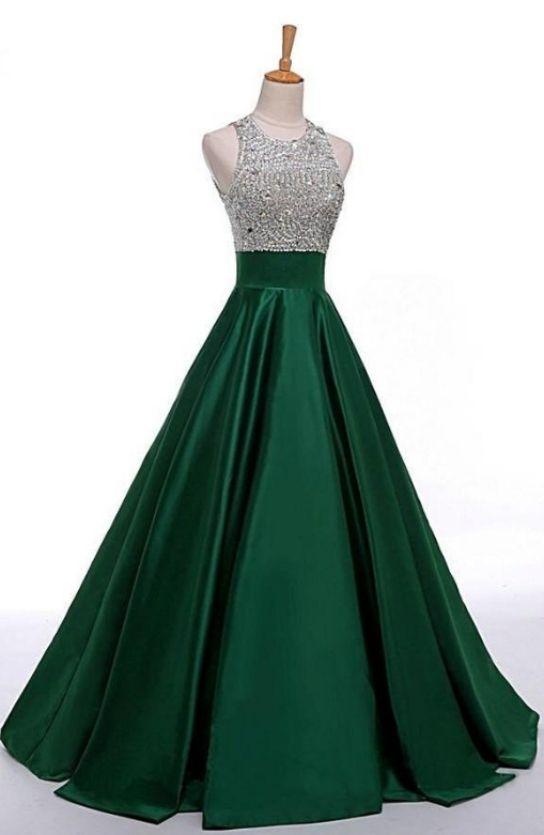 Ball Gown Prom Dresses, Green Prom Dresses, Long Prom Dresses, Long ...