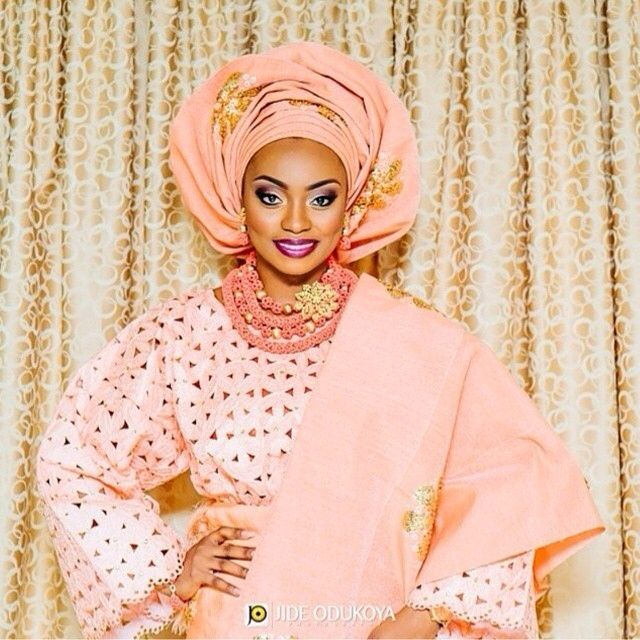Peach Lace, Peach/gold Aso Oke Gele And Jewelry
